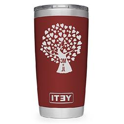 YETI Rambler Engraved Tree of Hearts engraved with Couple's