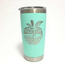 YETI Tumbler with Teacher Split Apple Name Design Engraved -